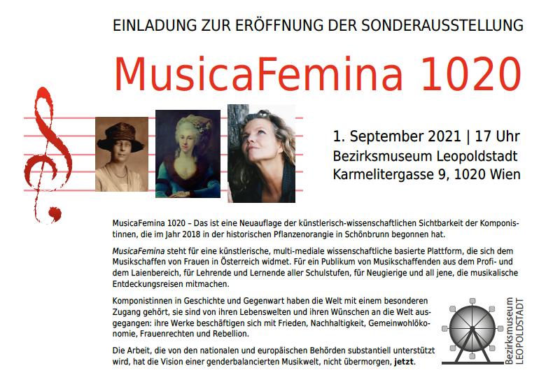 MusicaFemina 1020 Ausstellung im Bezirksmuseum Leopoldstadt